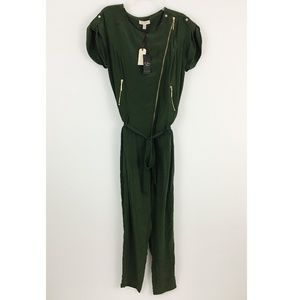 NWT Ted Baker 100% Silk Forest Green Jumpsuit